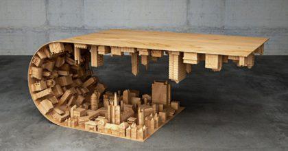 """Дизайнер, вдохновленный фильмом """"Начало"""", создал кофейный столик в форме изогнутого города"""